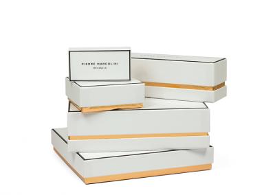 Omplakte vouwkarton dozen met bedrukking goudfolie voor Pierre Marcolini