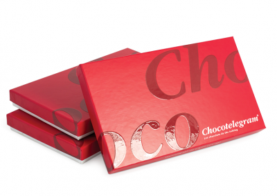 Doos met deksel van omplakte kartonnage voor Chocotelegram