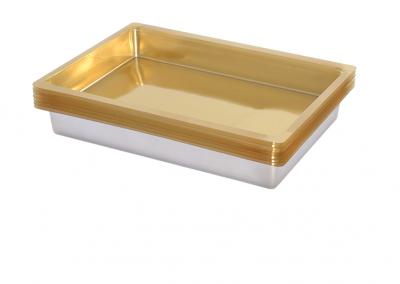 Vacuümvorm tray dieptrek interieur van goudkleurig kunststof